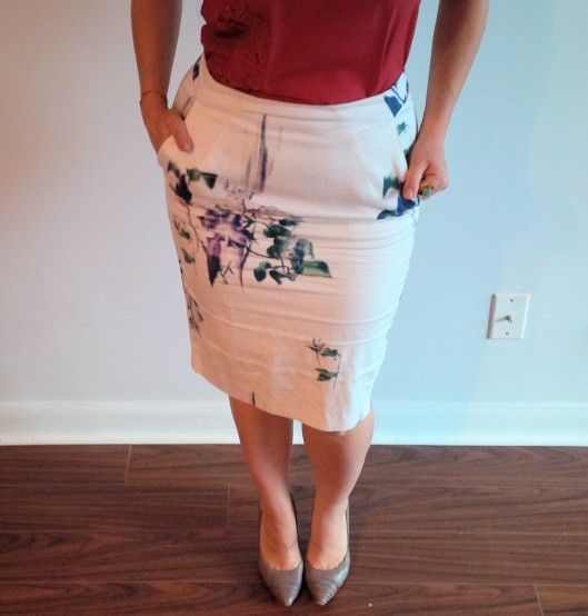 FCUK: WATER FLOWER PENCIL SKIRT @splattershare