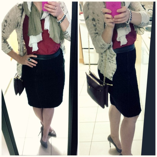 @splattershare black Ann Taylor Skirt, Red Ricki's blouse, vintage scarf + BR Cardigan